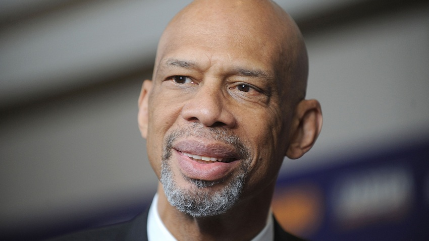 """In this Oct. 26, 2015, file photo, NBA Star Kareem Abdul Jabbar attends the """"Kareem: Minority Of One"""" New York Premiere at Time Warner Center in New York City."""