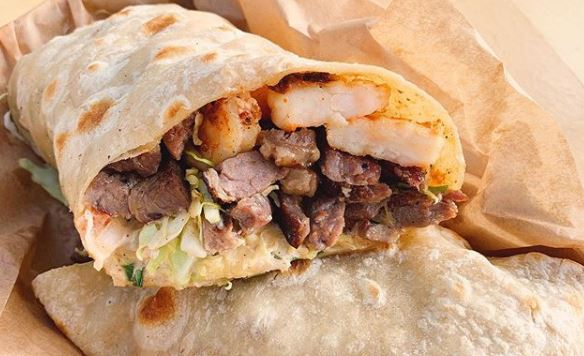 A burrito from Karina's Mexican Seafood