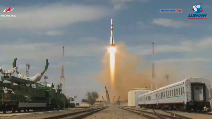 In this grab taken from video footage released by Roscosmos Space Agency, the Soyuz-2.1a rocket booster and Soyuz MS-16 space ship carrying a new crew to the International Space Station blasts off from the Russian-leased Baikonur cosmodrome, Kazakhstan, Thursday, April 9, 2020.