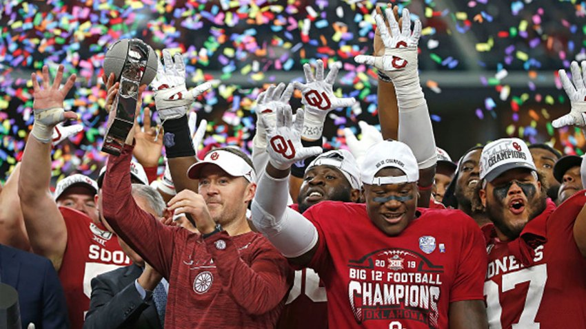 Head coach Lincoln Riley of the Oklahoma Sooners celebrates with his team after defeating the Baylor Bears 30-23 in the Big 12 Football Championship at AT&T Stadium on Dec. 7, 2019 in Arlington, Texas.
