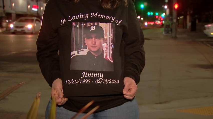 A sweatshirt memorializing Jimmy Ortega of Lincoln Park.