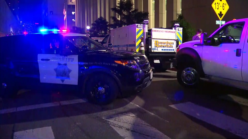 Police and County Hazmat Seen Outside the courthouse in San Diego
