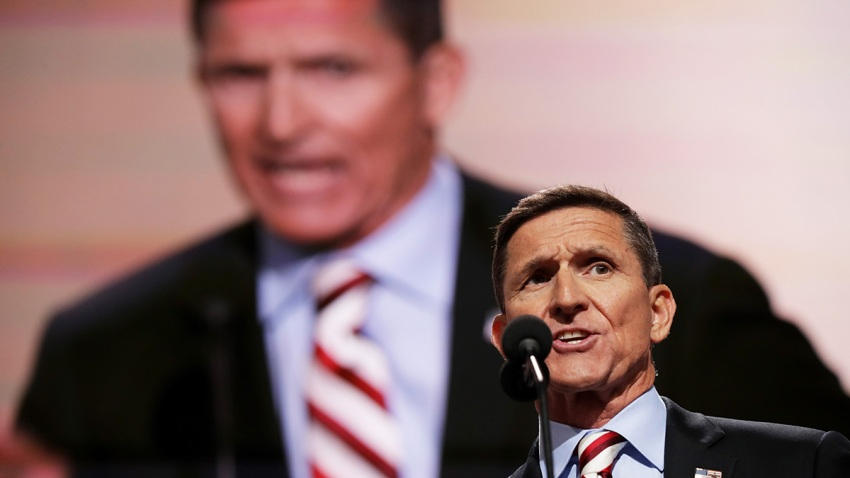 Michael Flynn delivers a speech on the first day of the Republican National Convention, July 18, 2016, at the Quicken Loans Arena in Cleveland, Ohio.