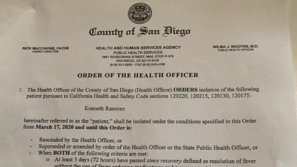 San DIego County Coronavirus Isolation Notice