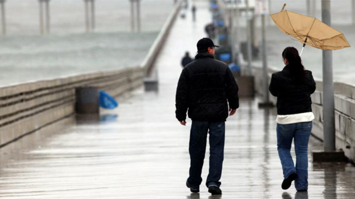 Ocean Beach Pier storm wind umbrella