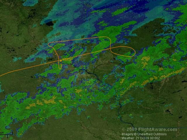 Northwest Flight 188 map from FlightAware B