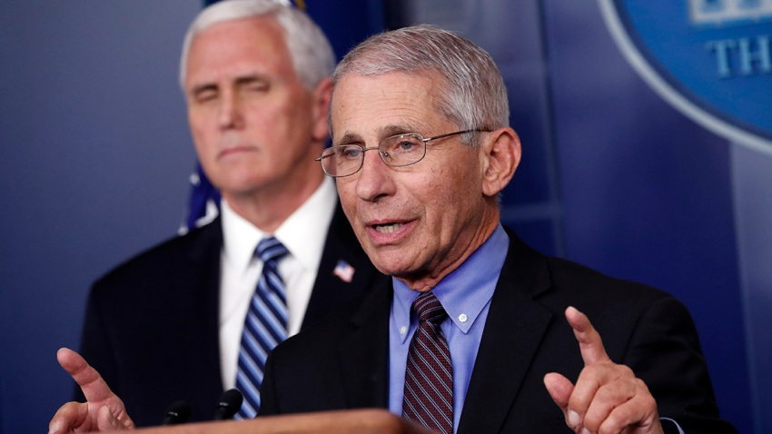 Dr. Anthony Fauci, director of the National Institute of Allergy and Infectious Diseases, speaks about the coronavirus in the James Brady Press Briefing Room of the White House, April 9, 2020, in Washington, as Vice President Mike Pence stands nearby.