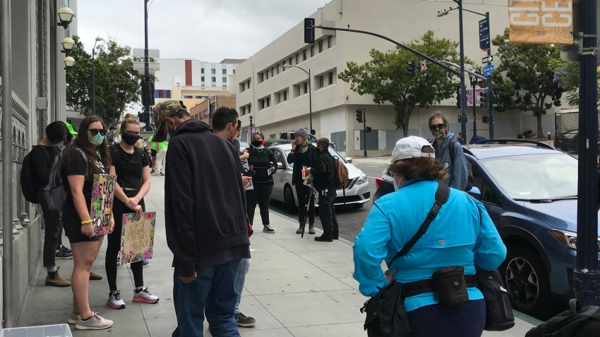 Protest at Downtown over the shooting that happened on Saturday