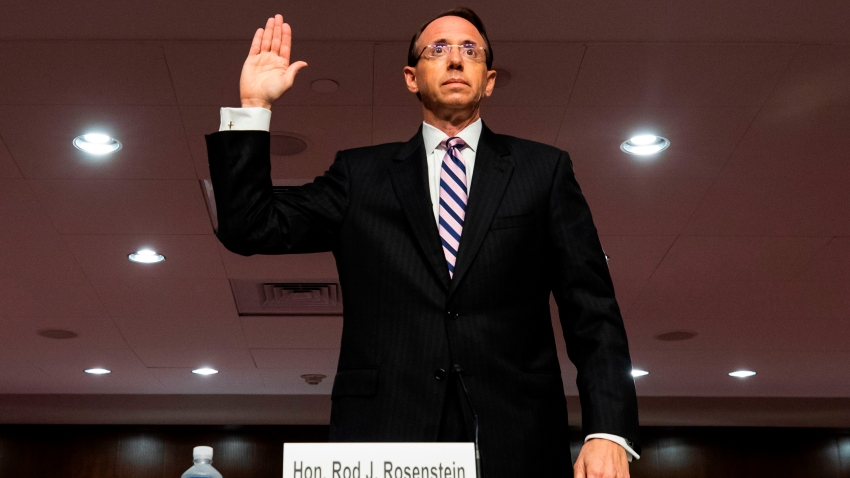 "Former deputy attorney general Rod Rosenstein is sworn in prior to testifying before a Republican-led Senate Judiciary Committee hearing on ""Crossfire Hurricane,"" the FBI's probe into Russian election interference and the 2016 Trump campaign, in the Dirksen Senate Office Building in Washington, D.C., on June 3, 2020."