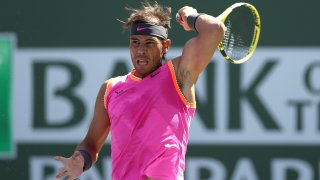 Rafael Nadal of Spain returns a shot to Karen Khachanov of Russia during the quarterfinals of the BNP Paribas Open at the Indian Wells Tennis Garden on March 15, 2019 in Indian Wells, California.