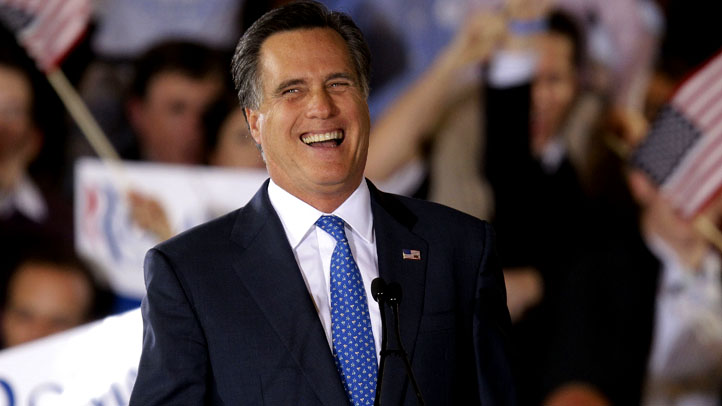 Romney Laughs at Boston Rally on Super Tuesday