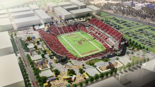 A rendering of the SDSU Stadium proposed for Mission Valley