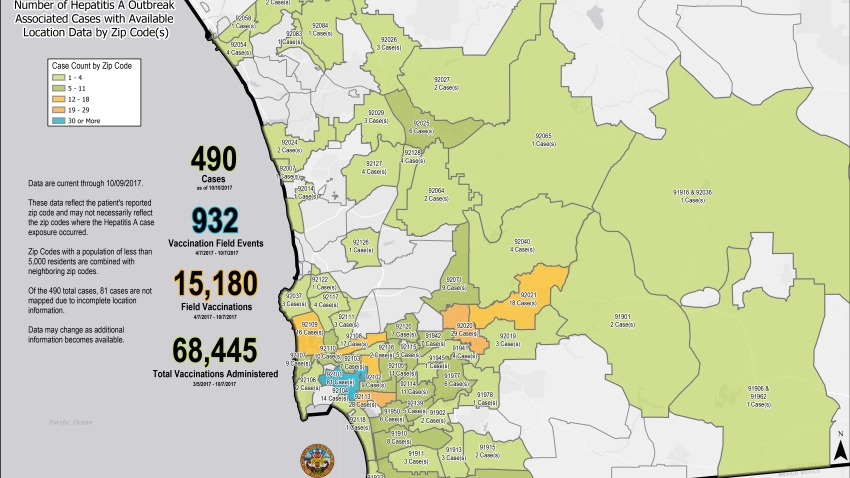 San Diego County Zip Code Map Map Shows Location of Hepatitis A Cases in San Diego County – NBC