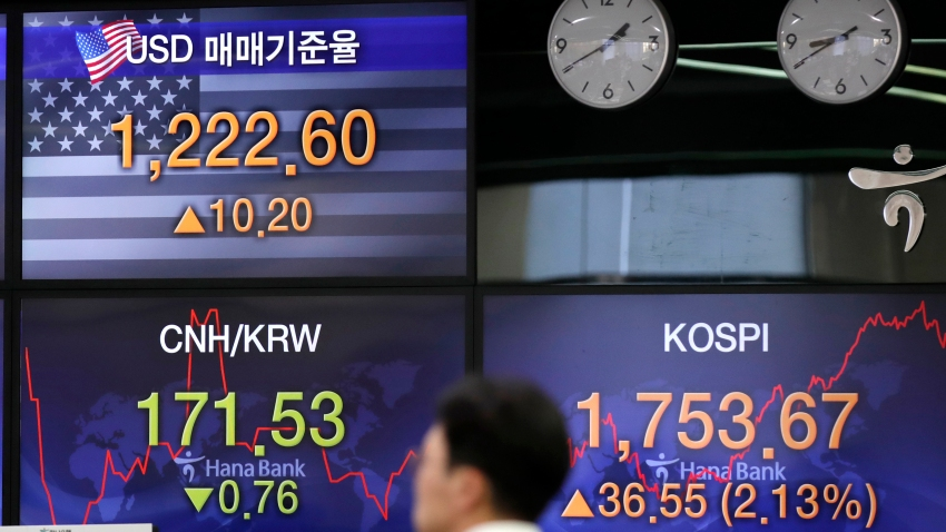In this March 31, 2020, file photo, a currency trader walks by the screens showing the Korea Composite Stock Price Index (KOSPI), right, and the foreign exchange rate between U.S. dollar and South Korean won, left top, at the foreign exchange dealing room in Seoul, South Korea.