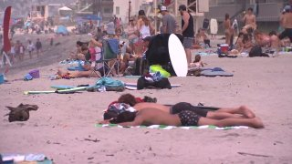 Beachgoers in Carlsbad