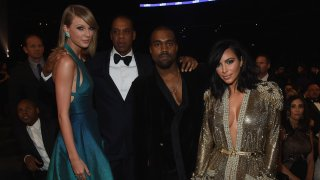 In this file photo, recording artists Taylor Swift, Jay Z and Kanye West and tv personality Kim Kardashian attend The 57th Annual GRAMMY Awards at the STAPLES Center on February 8, 2015 in Los Angeles, California.