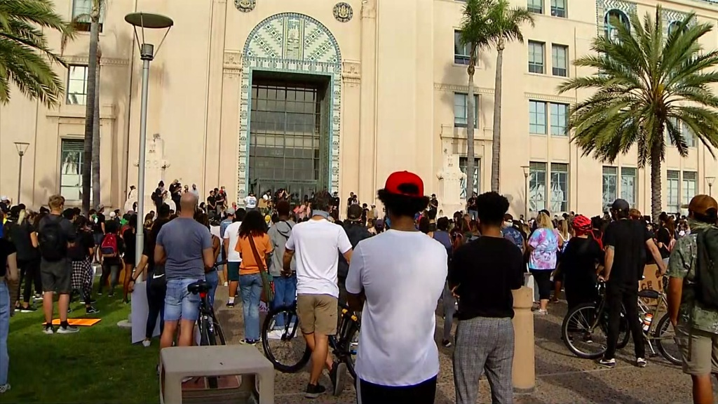 Demonstrators outside the county admin building