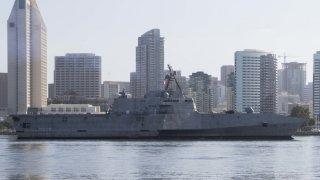 USS Kansas City against san diego skyline
