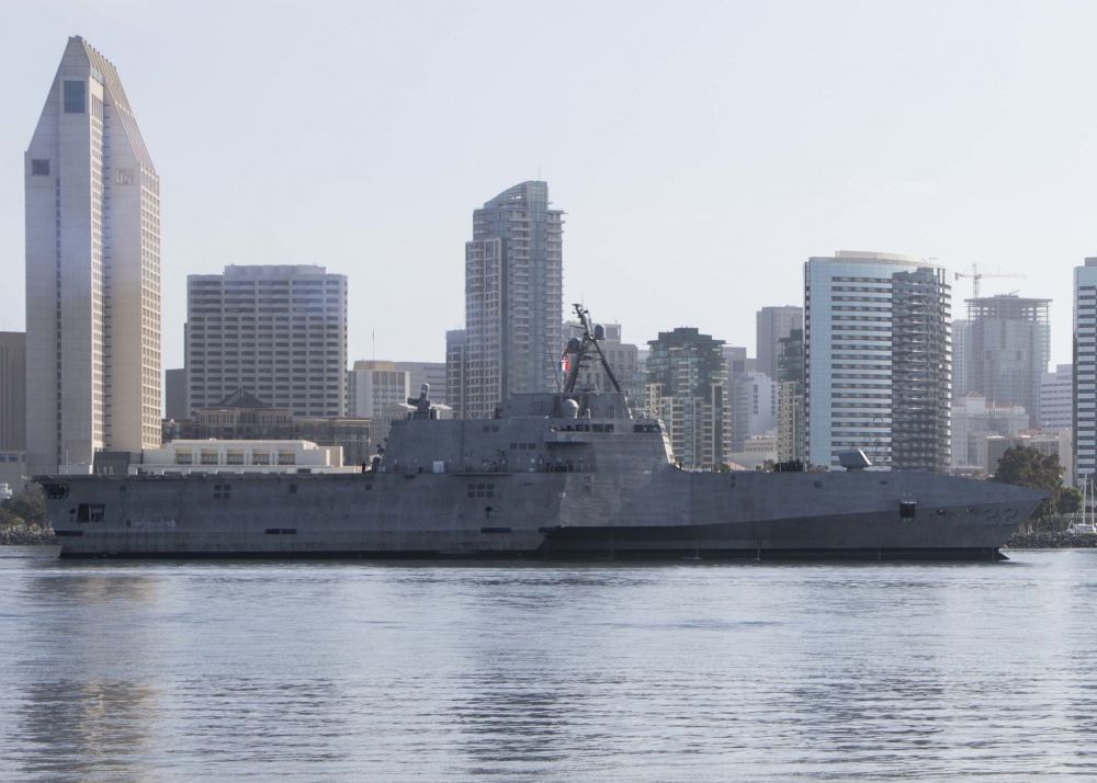 USS Kansas City against san diego skyline