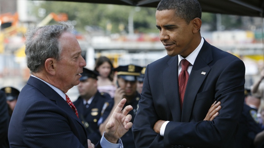 In this file photo, Democratic presidential nominee Barack Obama and New York City Mayor Michael Bloomberg talk at Ground Zero on the seventh anniversary of the terrorist attacks September 11, 2008 in New York City.