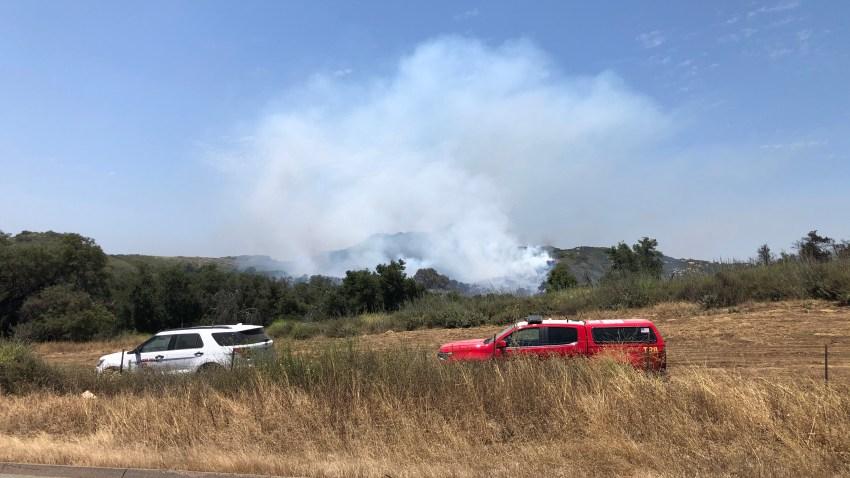 A Brush Fire burning on Camp Pendleton on June 3, 2020.