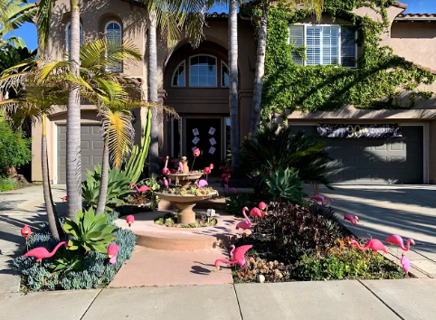 A house in Carlsbad is flocked with flamingos, courtesy of Graham and Kelly Levine.