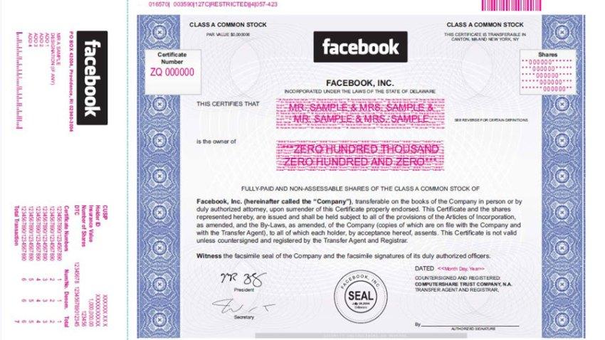 facebook stock certificate
