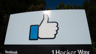 """The Facebook """"like"""" sign is seen at Facebook's corporate headquarters campus"""
