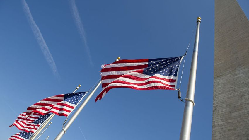 American flags at half-staff