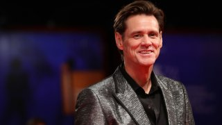 """In this Sept. 5, 2017, file photo, Jim Carrey walks the red carpet ahead of the """"Jim & Andy: The Great Beyond - The Story of Jim Carrey & Andy Kaufman Featuring a Very Special, Contractually Obligated Mention of Tony Clifton"""" screening during the 74th Venice Film Festival at Sala Grande in Venice, Italy."""