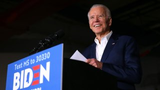 In this March 8, 2020, file photo, Democratic presidential candidate former Vice President Joe Biden speaks at a campaign event at Tougaloo College in Tougaloo, Mississippi.