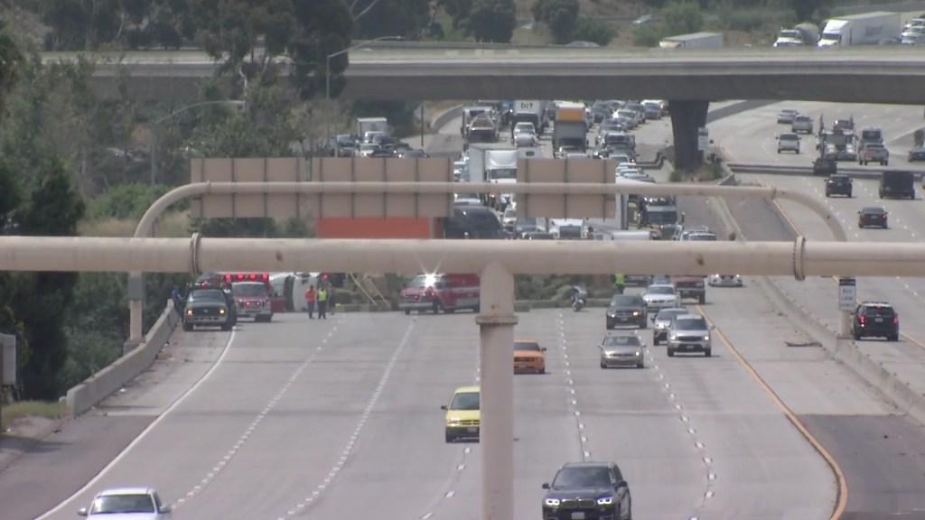 A semi truck overturned on I-15.