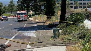 The mess left behind by a deadly car crash in Rancho Bernardo