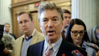 In this April 7, 2017, file photo, Sen. Rand Paul, R-Ky., speaks to reporters on Capitol Hill in Washington.