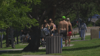 people walking path at Santee Lakes
