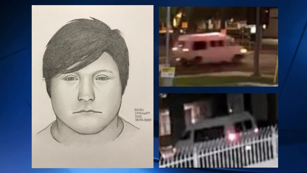 SDPD released a sketch and images of a sex assault suspect and his van.