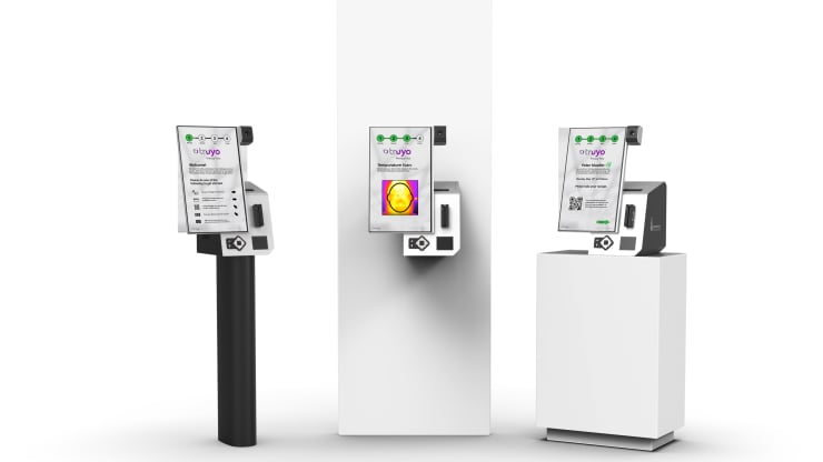Janus, a temperature-reading kiosk from IntraEdge and Pyramid, can be installed freestanding, using a wall mount or on a countertop.