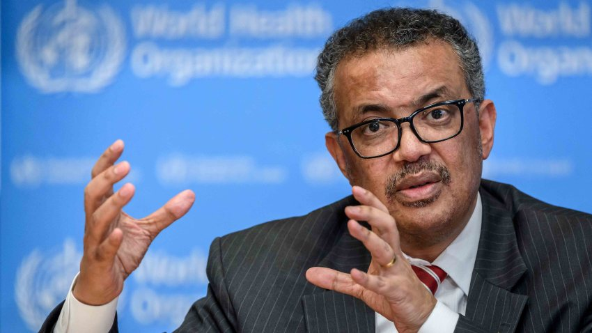 In this file photo, World Health Organization (WHO) Director-General Tedros Adhanom Ghebreyesus talks during a daily press briefing on COVID-19 virus at the WHO headquaters in Geneva on March 11, 2020.