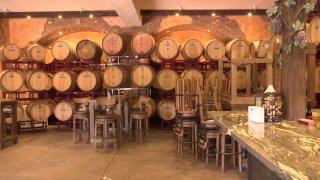An image of wine barrels at a Ramona, California vineyard.