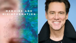 """This combination photo shows the cover of """"Memoirs and Misinformation,"""" left, and a portrait of author-actor Jim Carrey."""