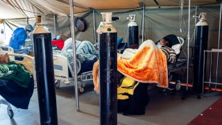 Covid-19 patients are being treated with oxygen at the Tshwane District Hospital in Pretoria, South Africa