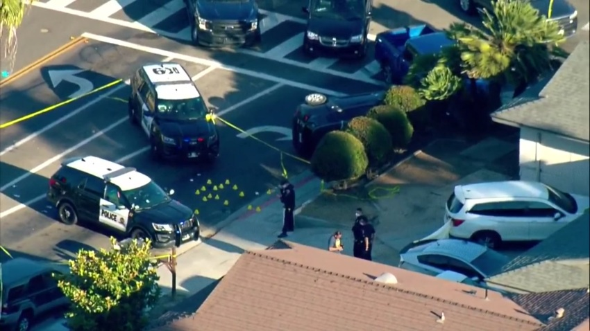 The scene of a police shooting in the Eastlake neighborhood of Chula Vista.