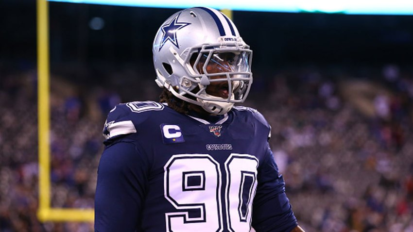 Dallas Cowboys defensive end Demarcus Lawrence (90) on the field prior to the National Football League game between the New York Giants and the Dallas Cowboys on November 4, 2019 at MetLife Stadium in East Rutherford, NJ.