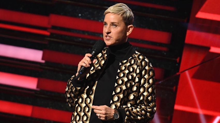 US comedian Ellen DeGeneres introduces Lil Nas X and Billy Ray Cyrus during the 62nd Annual Grammy Awards on January 26, 2020, in Los Angeles.