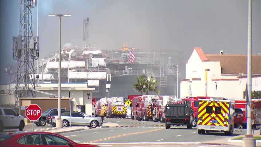 3 alarm blaze San Diego port