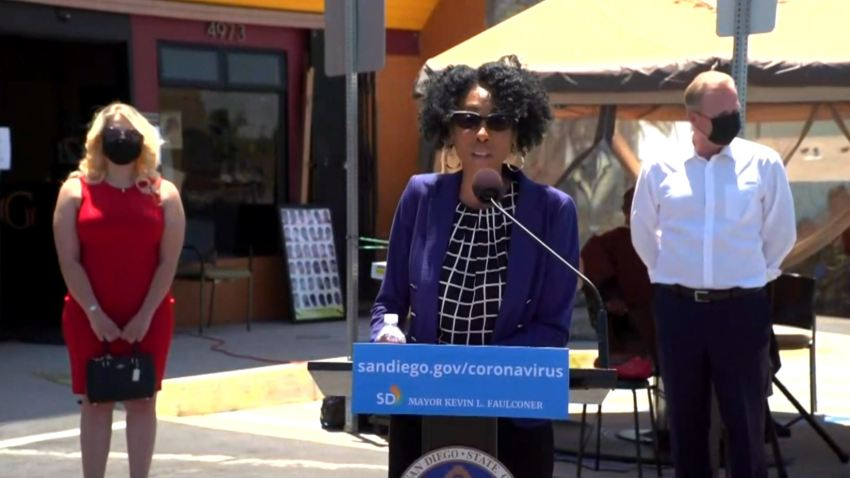 San Diego City Councilwoman Monica Montgomery (at podium)