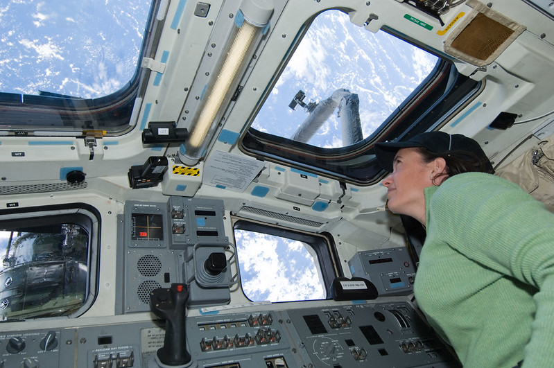 NASA astronaut and UCSD alum Megan McArthur looking at Earth from space