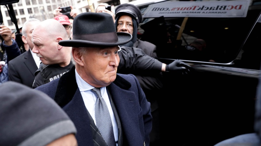 Roger Stone, former adviser and confidante to President Donald Trump, leaves the federal court in Washington, D.C. after being sentenced to 3 years in prison, Feb. 20, 2020.