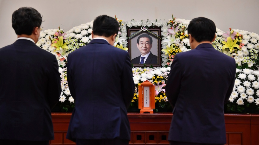 "In this photo provided by Seoul Metropolitan Government, a portrait of the deceased Seoul Mayor Park Won-soon is placed at a hospital in Seoul, South Korea, Friday, July 10, 2020. Park left a note saying he felt ""sorry to all people"" before he was found dead early Friday, officials in the South Korean capital said as people began mourning the liberal legal activist seen as a potential presidential candidate."