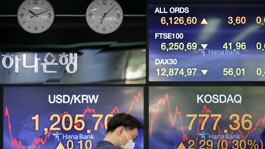 A currency trader wearing a face mask watches computer monitors near the screens showing the foreign exchange rate between U.S. dollar and South Korean won at the foreign exchange dealing room in Seoul, South Korea, Friday, July 17, 2020.